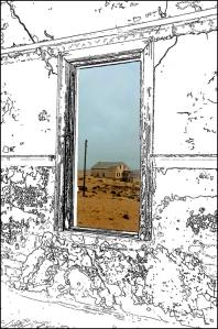 Kolmanskop huis pen 768 framed